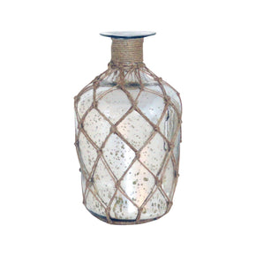 Cassieo Bottle Vase 10.875-Inch Antique Silver With Jute Wrap Vase/urn