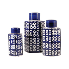 Cupola Set Of 3 Jars Dark Navy,white Vase/urn