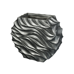 Kona Storm Wave Planter - Large Pewter Vase/urn