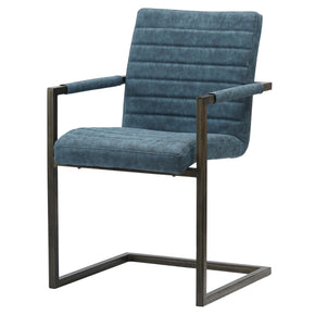 New Pacific Direct 3400021-268 Gerald PU Leather Arm Chair (Set of 2) Kalahari Blue