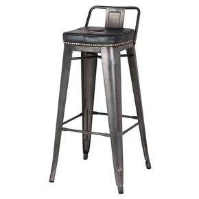New Pacific Direct 9300031-240 Metropolis Low Back Bar Stool (Set of 4) Vintage Black