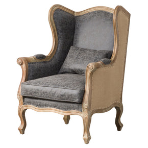 New Pacific Direct 3900036-NCLB Guinevere Wing Arm Chair Nubuck Charcoal Gray