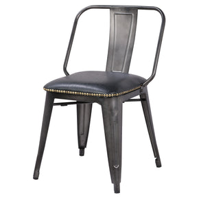 New Pacific Direct 9300030-240 Brian PU Leather Metal Side Chair (Set of 4) Vintage Black