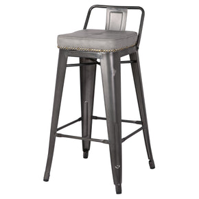 New Pacific Direct 9300032-239 Metropolis Low Back Counter Stool (Set of 4) Vintage Mist Gray