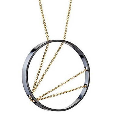 93652034d Arc Necklace in Oxidized Silver and Gold - Vanessa Gade Jewelry Design