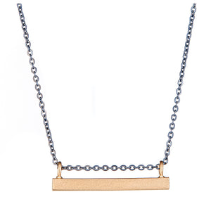 30% OFF!: Architrave Necklace in Gold with Oxidized Chain, Petite