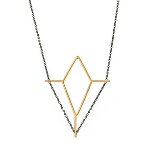 Jendela Necklace in Gold and Oxidized Chain