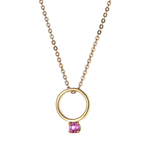 Looking Glass Necklace in Yellow Gold with Pink Tourmaline