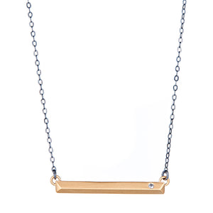 Mezzanine Necklace : Gold with Oxidized Chain