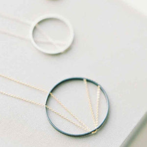 30% OFF!: Arc Necklace in Oxidized Silver and Gold