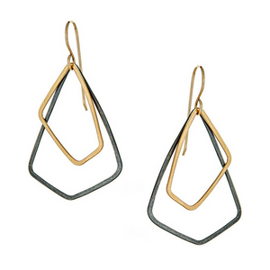 AKARA Earrings Petite in Oxidized Silver and Gold