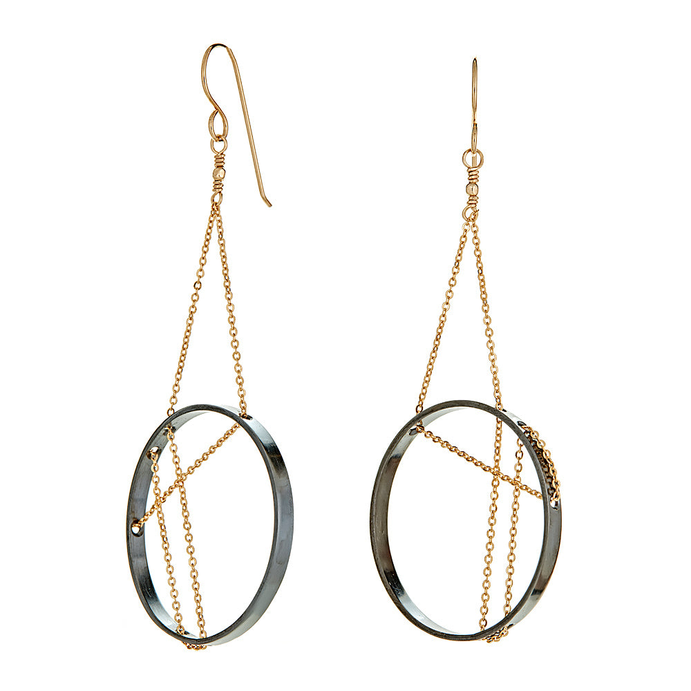 e5d786bed Vitruvia Earrings in Oxidized Silver and Gold - Vanessa Gade Jewelry Design