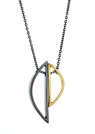 Demi Selene Necklace in Oxidized Silver and Yellow Gold