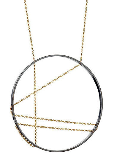 Mondrian Necklace in Oxidized Silver and Gold