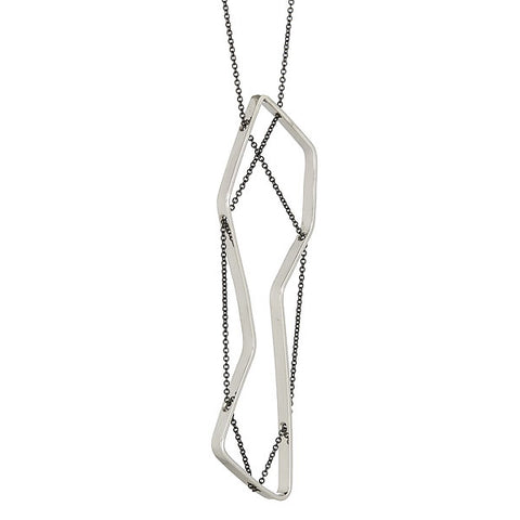 LINEA Necklace in Sterling Silver and Oxidized Silver Chain