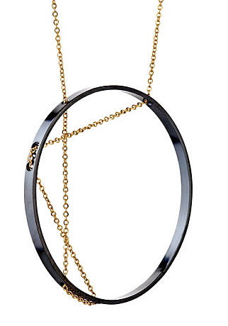 Aperture Necklace in Oxidized Silver and Gold