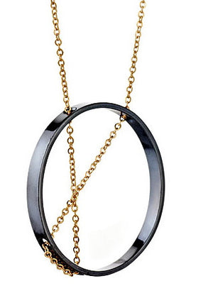 Inner Circle Necklace in Oxidized Silver and Gold