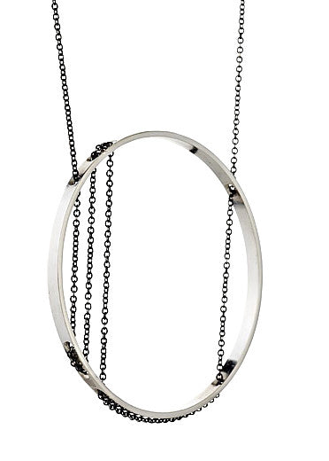 Corinthia Necklace in Sterling Silver and Oxidized Silver Chain