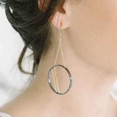 a7b157383 Vitruvia Earrings in Oxidized Silver and Gold - Vanessa Gade Jewelry ...