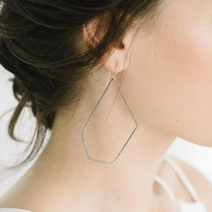 HEX Hoops in Oxidized Silver