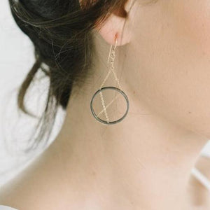Inner Circle Earrings in Sterling Silver and Gold