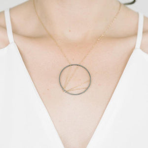 Arc Necklace in Sterling Silver and Oxidized Silver Chain