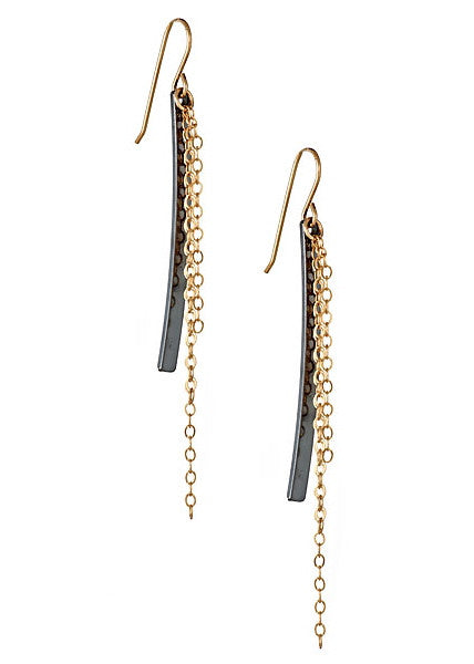 Cascade Earrings in Oxidized Silver and Gold