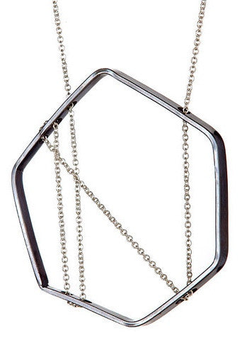Bertoia Necklace in Oxidized Silver and Sterling Silver Chain