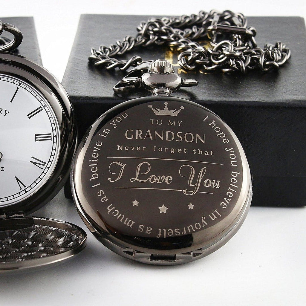 'To My Grandson' Engraved Pocket Watch