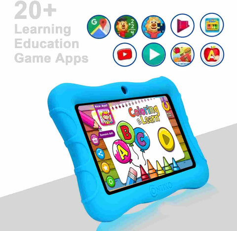 Contixo V9-3 is a learning tablet for kids. This Contixo tablet for kids comes with 20 pre-installed and educator approved learning games to teach kids the basics of reading, writing, math, coding and more.