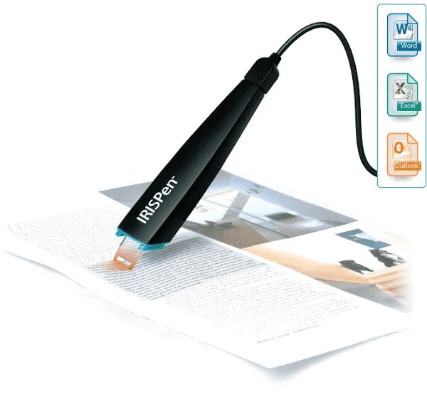 IRIS IRISPen is a scanner pen that retypes text on your computer. Simply slide it over text and see the words appear on your text editing program.