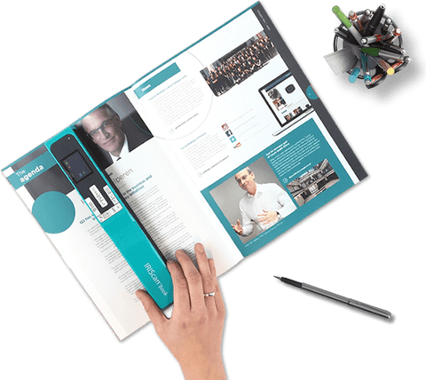 Iriscan Book 5 Wifi book scanner lets you scan books and magazines in a matter of seconds. Simply roll Iriscan Book 5 across a page to take a high-resolution scan of the page.