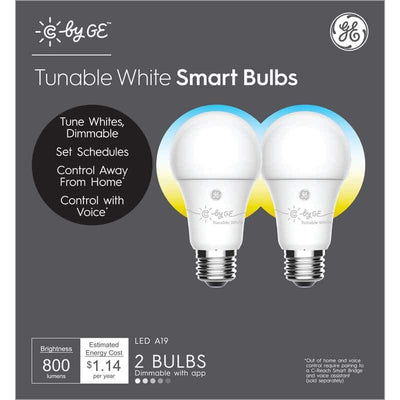 C by GE A19 Smart LED Light Bulb (Tunable White, 2-Pack) Health & Home General Electric
