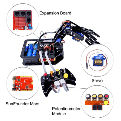 Hamilton Buhl STEAM Robo-Arm Kit for Arduino - Programmable 4-Axis Robot Arm Smart Toys Hamilton Buhl