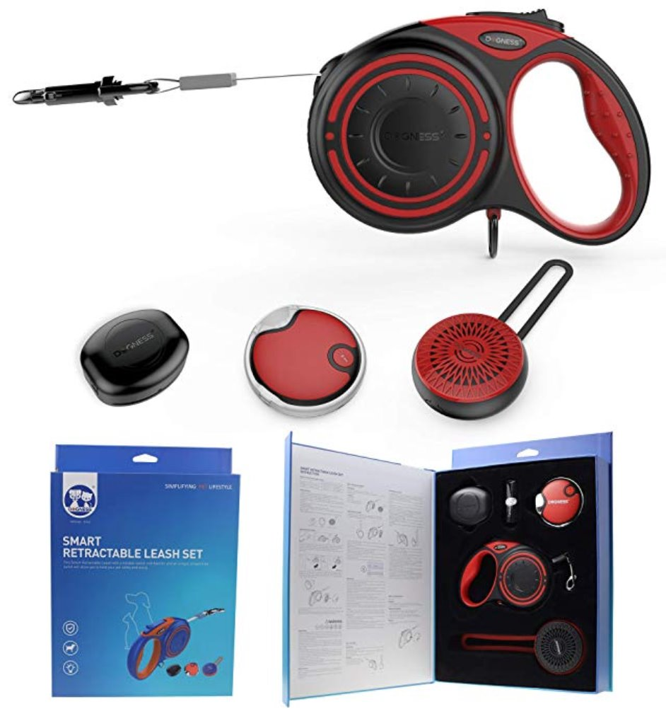 DOGNESS Smart Retractable Leash Package - one Bluetooth Speaker, one LED Light Pets Dogness