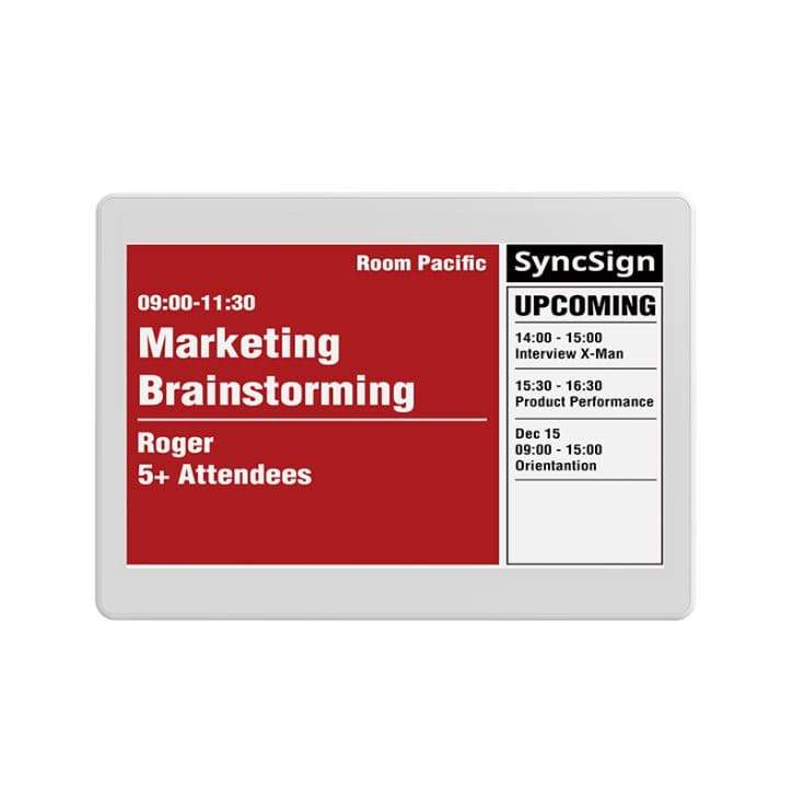 SyncSign Meeting Room Scheduler- 7.5 inch Screen + Hub + Wall Mount