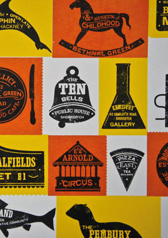 A Pictorial Guide To East London screenprint