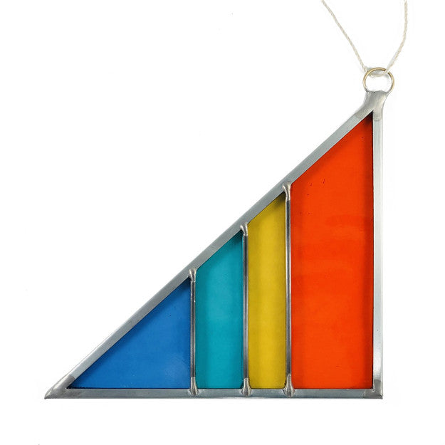 Small Stained Glass Triangle - Light Rainbow