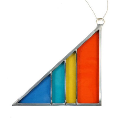 Large Stained Glass Triangle - Light Rainbow