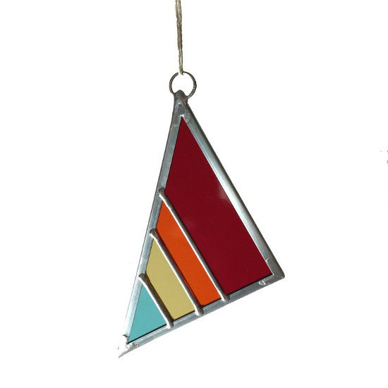 Large Stained Glass Triangle - Rainbow