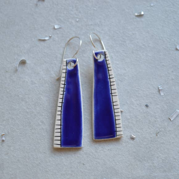Dark Blue Dangle Earrings