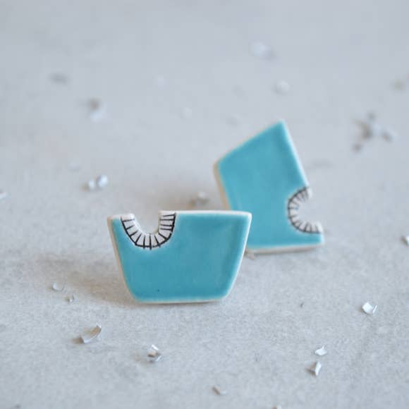 Turquoise Geometric Stud Earrings