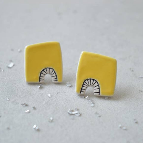 Yellow Geometric Stud Earrings