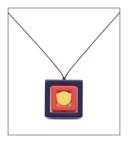 Navy Square Necklace
