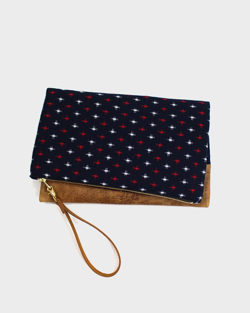 Foldable Kasuri-Ori Clutch Bag