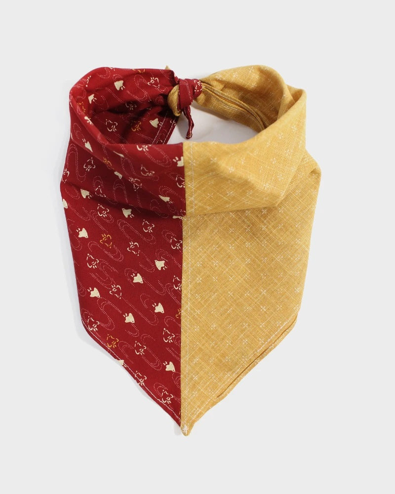 Split Bandana - Yellow Kagasuri & Red Chidori