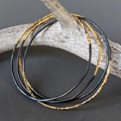 Steel & Gold Stackable Bangle (Sold Individually)