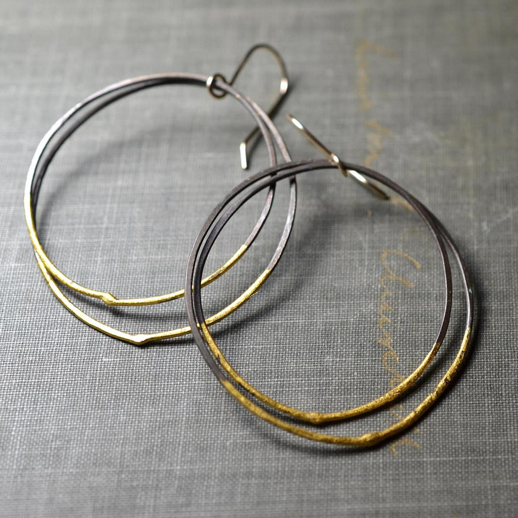 Steel & Gold Double Hoops