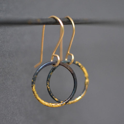 Small Steel & Gold Hoops