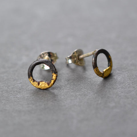 Steel & Gold Tiny Circle Studs